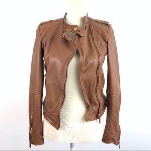 Zara Genuine Leather Brown Full Zip Biker Jacket
